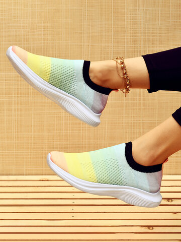 Knitted Breathable Slip-On Sneakers