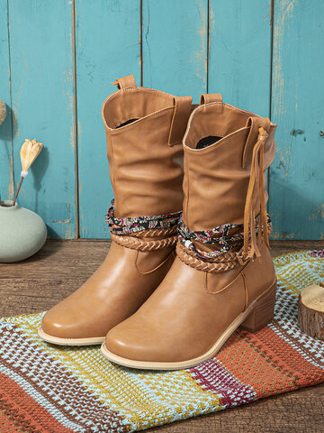 Ethnic Hand Braided Band Cowboy Boots