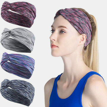 Gradient Non-slip Elastic Yoga Hair Band Elastic Broom Running Headband Sweat-absorbent