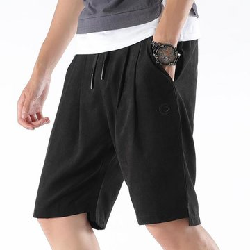 New Men's Casual Port Wind Five Pants Pure Color Casual Shorts Men's Embroidered Straight Pants