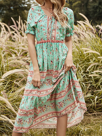 Floral Print Knotted Casual Dress