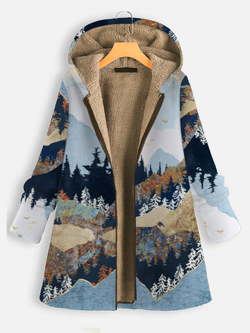 Landscape Print Hooded Coat