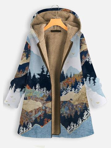 Landscape Print Hooded Coat