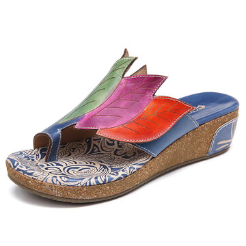 Leather Wedge Thongs Sandals