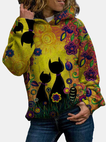 Cartoon Cat Print Hoodie