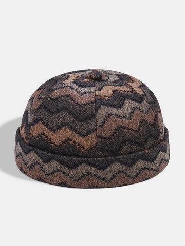 Collrown Men & Women Stripe Pattern Brimless Beanie Skull Hat Landlord Hat