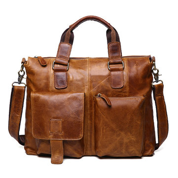 Ekphero Genuine Leather Big Capacity Handbag Crossbody Bag
