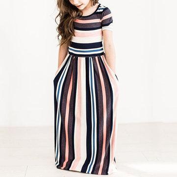 Stripe Girls Maxi Party Dress For 1Y-11Y