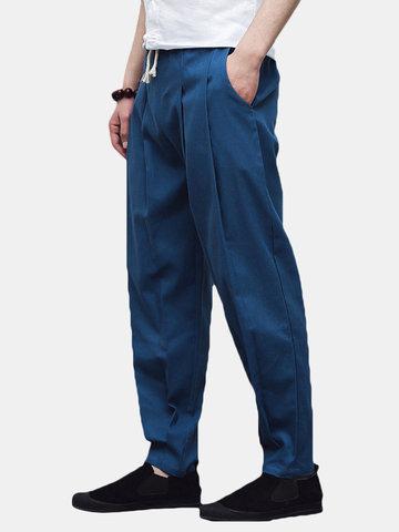 Pantalon bouffant du style chinois en coton lin