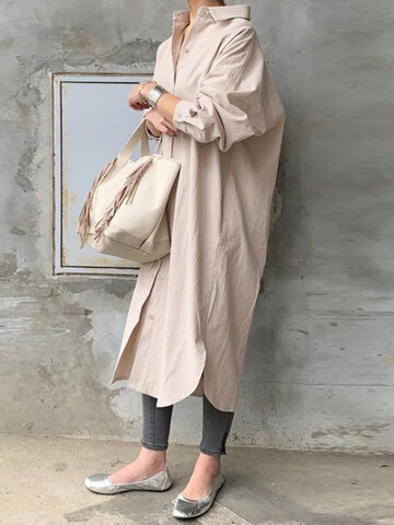 Solid Color Casual Cotton Dress