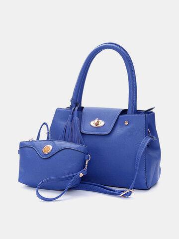 Women Elegant 2PCS Handbag Crossbody Bags Buckle Tassel Pendant Bags Clutch