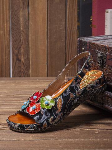 Sandales plates à fleurs à imprimé ethnique