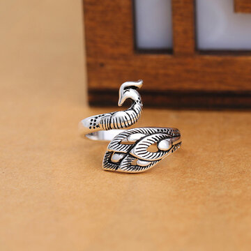 Ethnic Peacock Opening Silver Rings