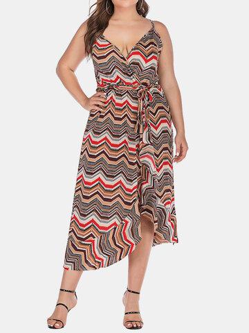 Vestido de alça assimétrica com estampa geométrica