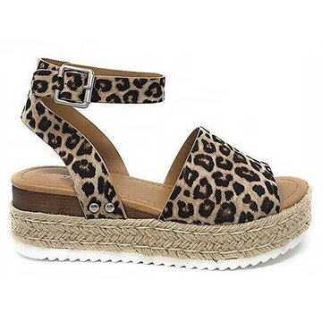 Leopard Peep Toe Buckle Platform Sandals