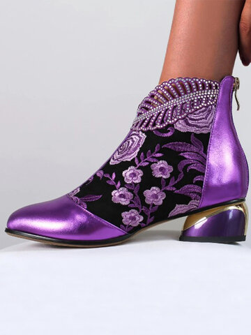Women Comfy Soft Leather Embroidered Flowers Rhinestone Chunky Heel Summer Boots