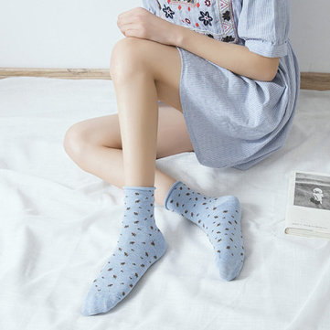 Spring Floral Curly Middle Tube Socks Cotton Breathable