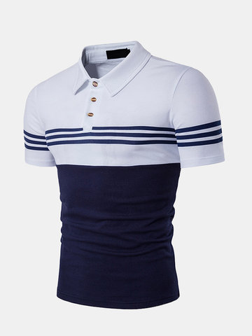 Business Turndown Collar Casual Striped Printed Golf Shirts