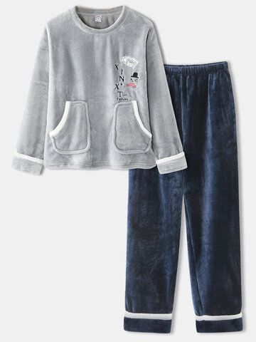 Plus Size Flannel Embroidered Thick Pajamas Set