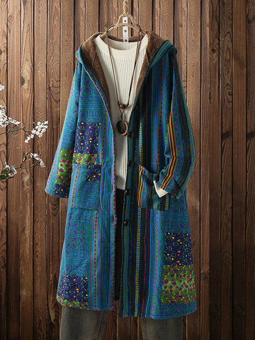 Vintage Print Fleece Hooded Coat