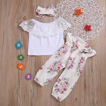 3Pcs Girls Lace Tops Pants Set For 0-24M