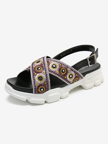 Embroidered Sport Sandals