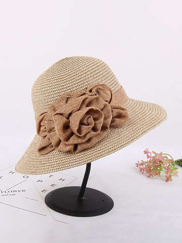 Women Ladies Wide Brim Floppy Beach Sun Straw Hat Casual Travel Sunshade Bohemia Bucket Hat