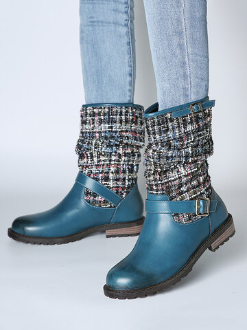 Splicing Buckle Strap Flat Long Boots