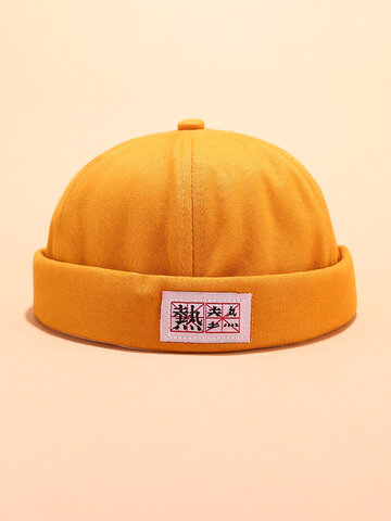 Cotton Solid Color Skull Caps With Chinese Letters