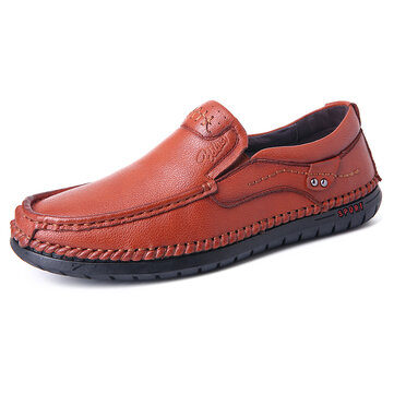 Menico Men Hand Stitching Soft Leder Slipper