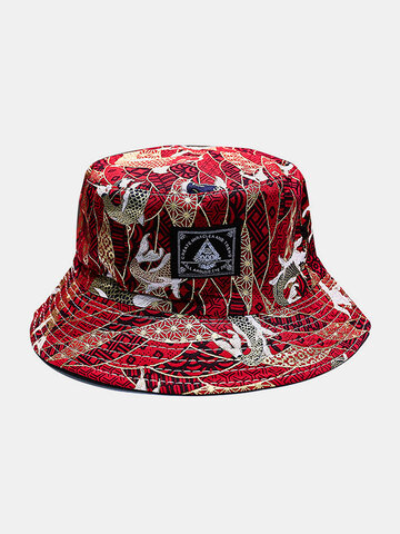 Women & Men Double-Sided Koi Fish Embroidery Pattern Casual Bucket Hat