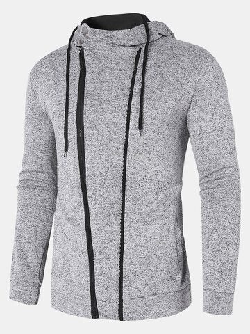 Solid Color Sporty Hoodie