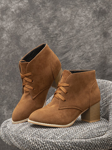 Suede Lace-up Comfy Chunky Heel Boots