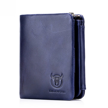 RFID Men Trifold Cow Leather 15 Card Slot Wallet Coin Purse