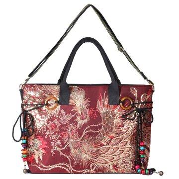 Peacock Canvas Tote Handbags Chinese Shoulder Bags