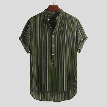 Mens Ethnic Style Printed Henley Shirts