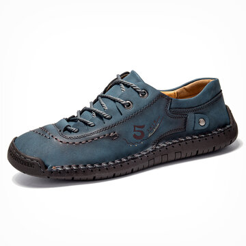 Menico Men Microfiber Leather Hand Stitching Casual Shoes