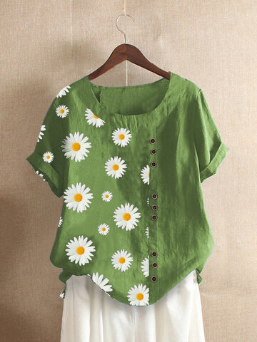 Daisy Floral Patched Print T-Shirt