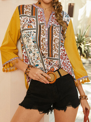 Ethnic Pattern Print Tassel Sleeves Blouse
