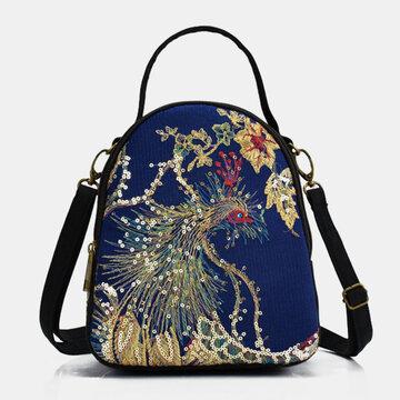 Ethnic Embroidered Sequined Canvas Peacock Handbag Crossbody Bag