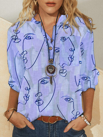 Abstract Pattern Button Blouse