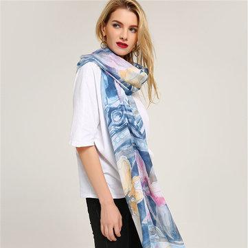 MEANBEAUTY 180 cm * 80 cm algodão cachecol xale de impressão Floral
