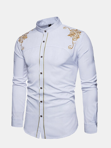 Embroidery Slim Fit Work Shirts