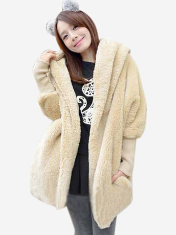 Women Stylish Solid Color Long Sleeve Loose Cashmere Hooded Coat