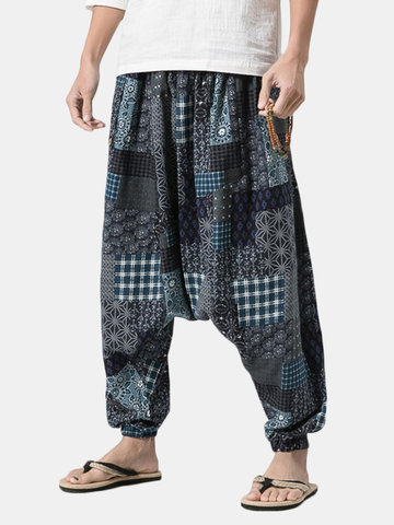 Estilo Folk-Impresso Baggy Wide Leg Pants