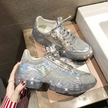 Sequined Lace Up Platform Sneakers