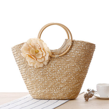 Women Straw Beach Bag Leisure Holiday Handbag