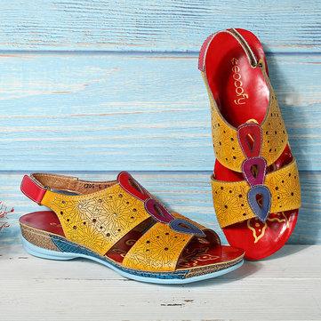 Soft Sandálias com costuras ocas de couro