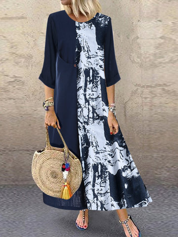 Print Patchwork Casual Dress