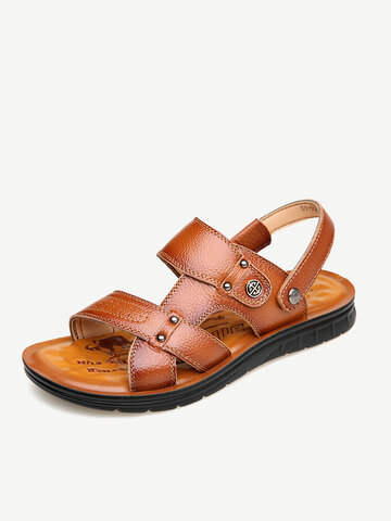 Men Cow Leather Casual Beach Sandals